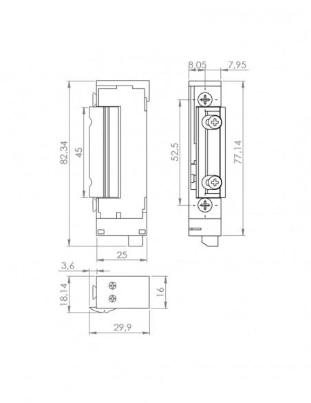 Incuietoare electromagnetica incastrabila pentru usi cu deschidere sub presiune DORCAS-99NF-412-PRE