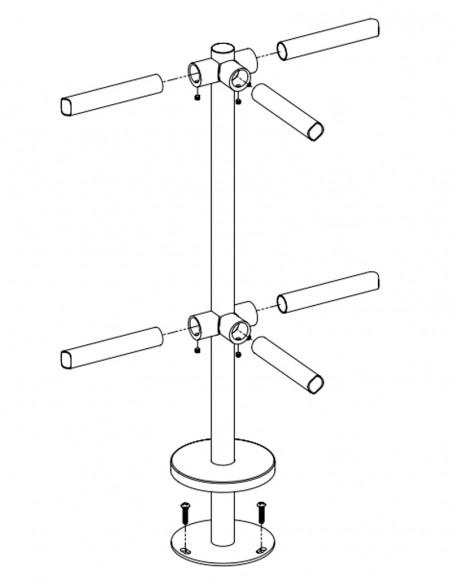 Stalp intermediar in forma de T, din INOX, pentru balustrade K-TO