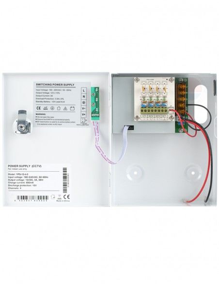 Sursa alimentare cu backup, 4 canale, 12V/3A YPS-12-4-3